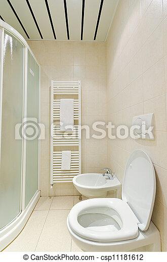 photographies de toilette salle bains moderne toilette dans les csp11181612. Black Bedroom Furniture Sets. Home Design Ideas