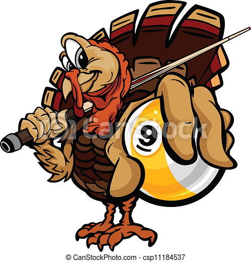 Cartoon Vector Image of a Thanksgiving Holiday Billiards or Pool Turkey Holding a Nine Ball and Pool Cue - csp11184537
