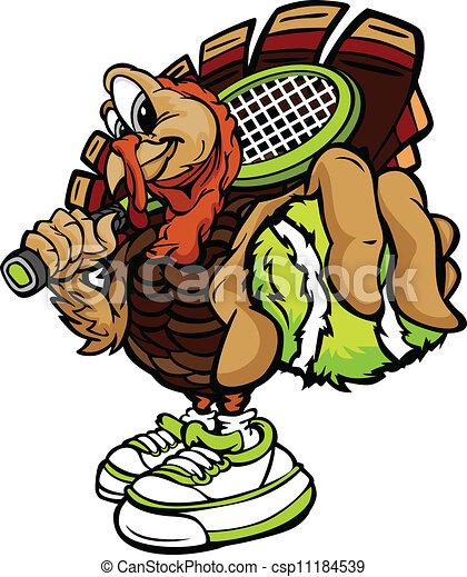 Tennis Thanksgiving Holiday Turkey Cartoon Vector Illustration - csp11184539