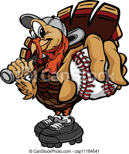 caricatura,  vector, imagen, de, Un, acción de gracias, feriado, beisball, o, sofbol, pavo, tenencia, Un, beisball, Pelota, y, Un, Murciélago - csp11184541