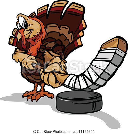 Hockey Thanksgiving Holiday Turkey Cartoon Vector Illustration - csp11184544