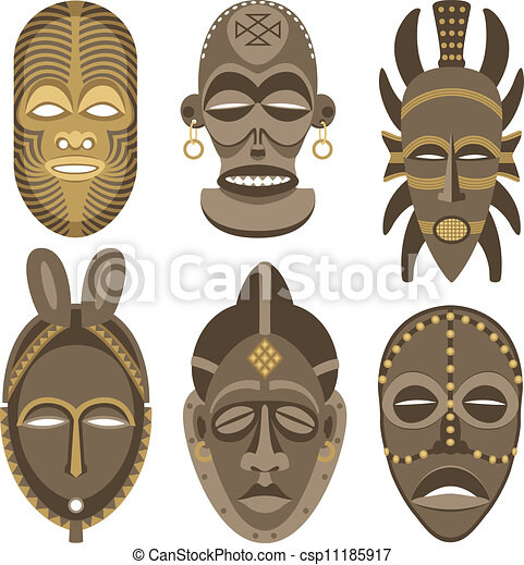African Masks Drawings African Masks Csp11185917