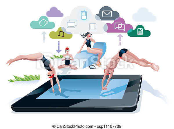 Pool Diving Clipart Diving Into a Pool Tablet a