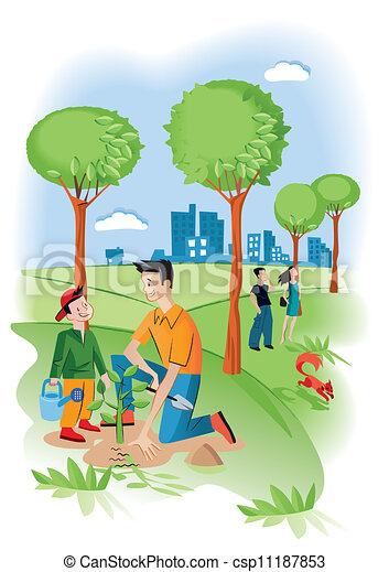 Clipart Vector of Child With His Father Planting A Seedling ...