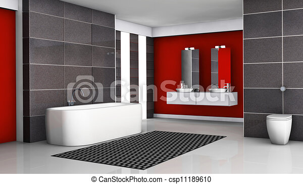 Clipart av badrum, svart, röd - röd, badrum, inre, med, nymodig ...