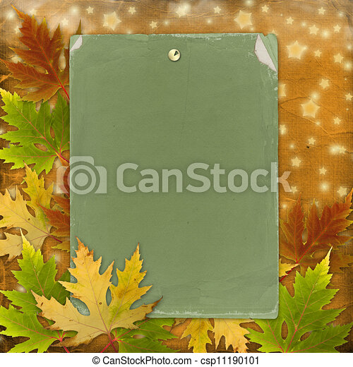 Autumn background with foliage and grunge papers design in scrapbooking style - csp11190101