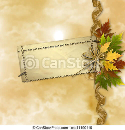 Autumn background with foliage and grunge papers design in scrapbooking style - csp11190110