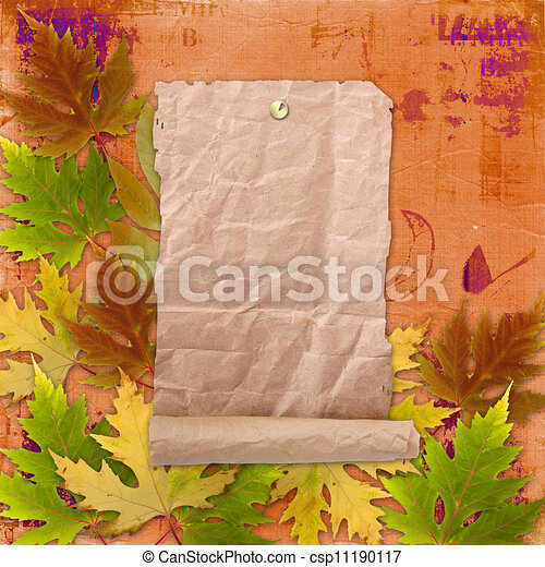 Autumn background with foliage and grunge papers design in scrapbooking style - csp11190117