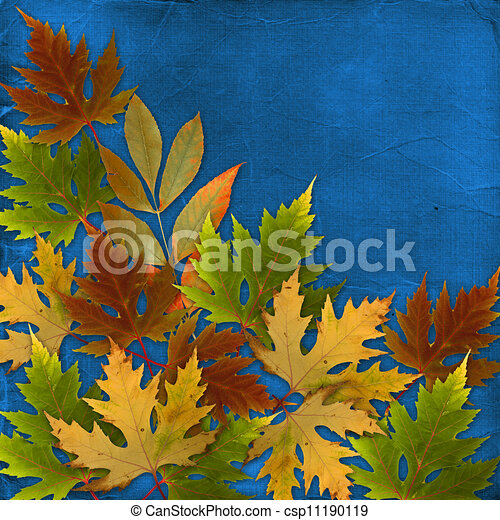 Autumn background with foliage and grunge papers design in scrapbooking style - csp11190119
