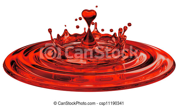 falling heart shaped water drop into the water - csp11190341