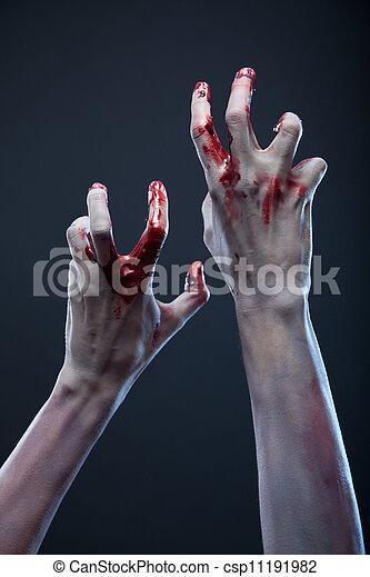 Creepy zombie hands, extreme body-art  - csp11191982