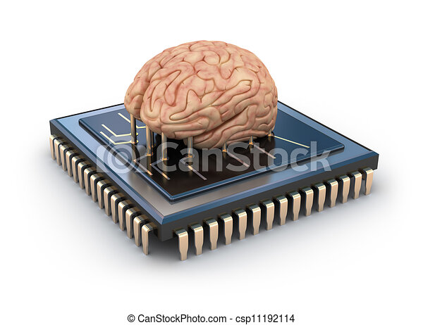 Human brain and computer chip - csp11192114