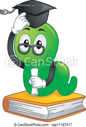 Bücherwurm clipart  Vektor Clipart von maskottchen, bücherwurm, staffeln - Mascot ...
