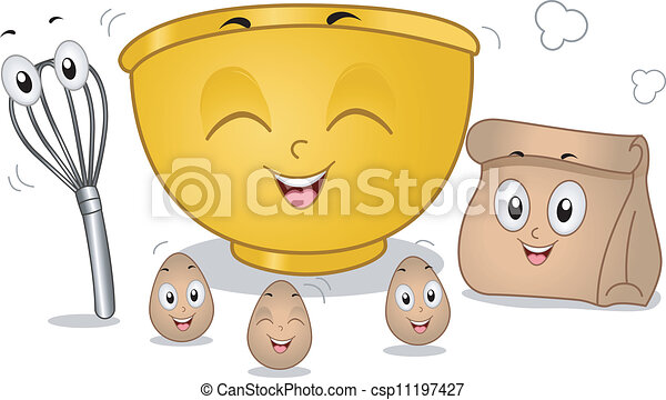 vektor illustration von backen  maskottchen mascot  illustration  featuring  eggs mixing bowl clip art free mixing bowl and wooden spoon clipart