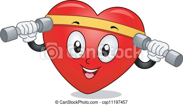 Clipart Vector of Heart Mascot Exercise - Mascot ...