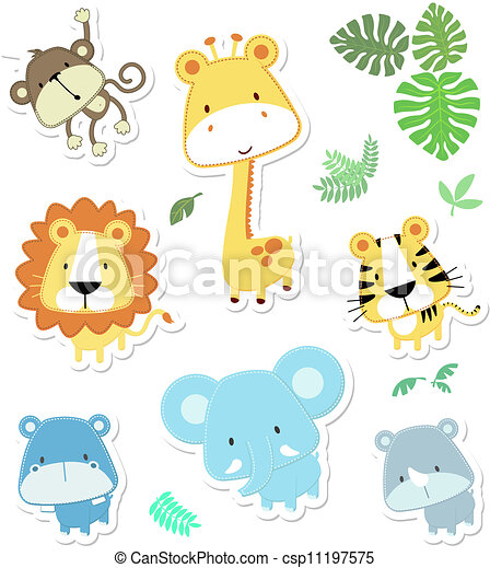 cute vector animals - csp11197575