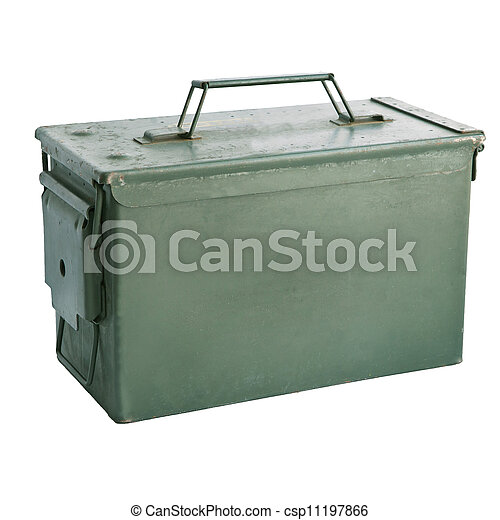 military green metal bullet box iso - csp11197866