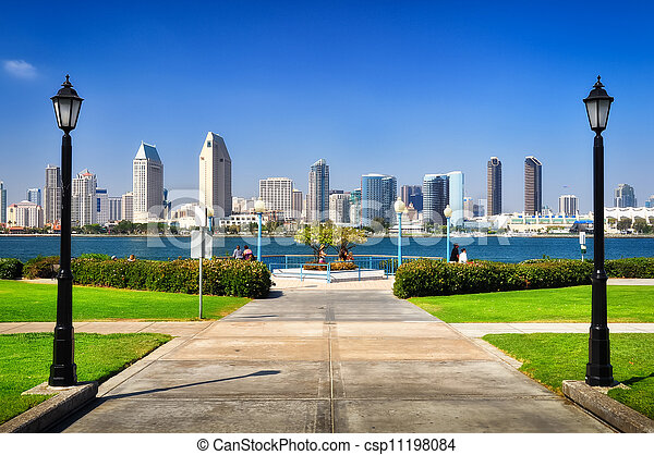 San Diego city view from the park - csp11198084