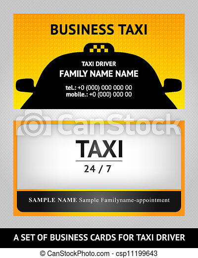 Eps Vector Of Business Cards Taxi Set Vector Template 10eps Csp11199643 Search Clip Art