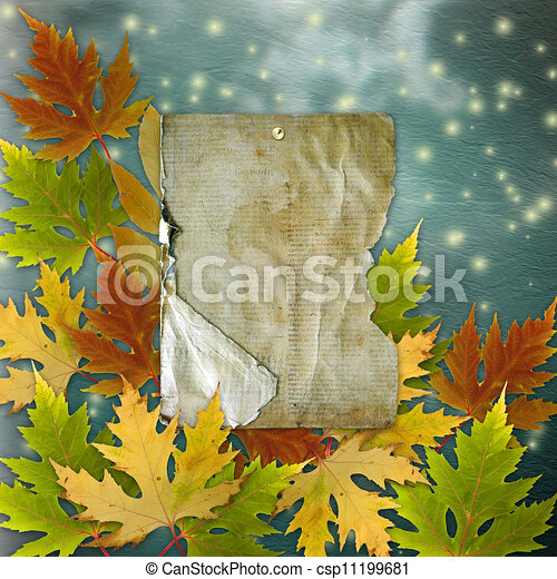 Autumn background with foliage and grunge papers design in scrapbooking style - csp11199681