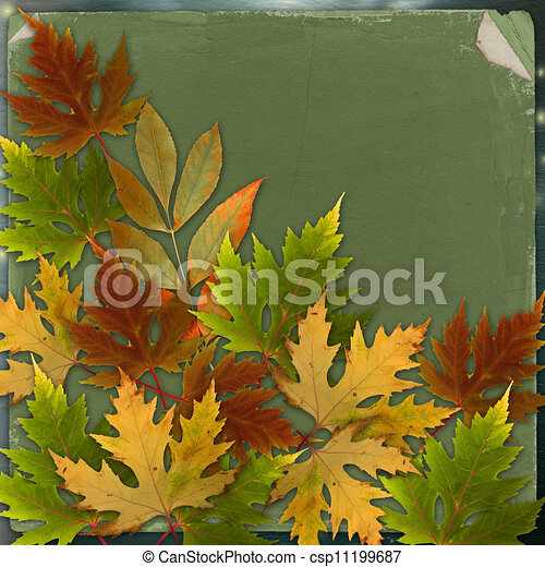 Autumn background with foliage and grunge papers design in scrapbooking style - csp11199687