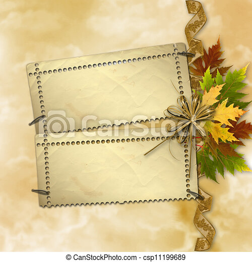 Autumn background with foliage and grunge papers design in scrapbooking style - csp11199689