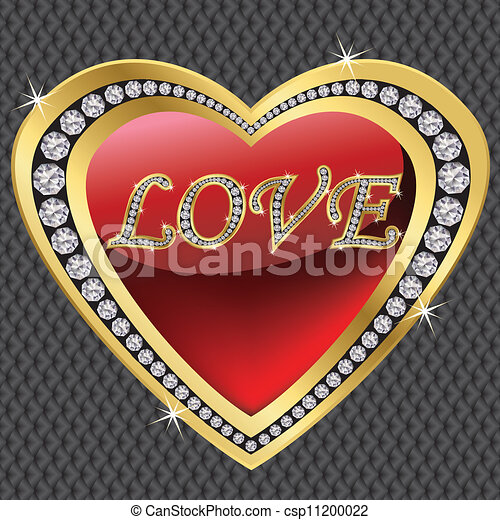 Diamond heart for Valentine day, ve - csp11200022