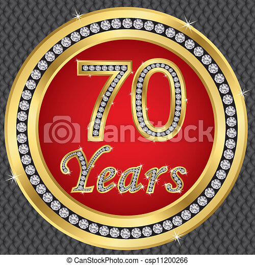 Clip Art Vector Of 70 Years Anniversary Happy Birthday