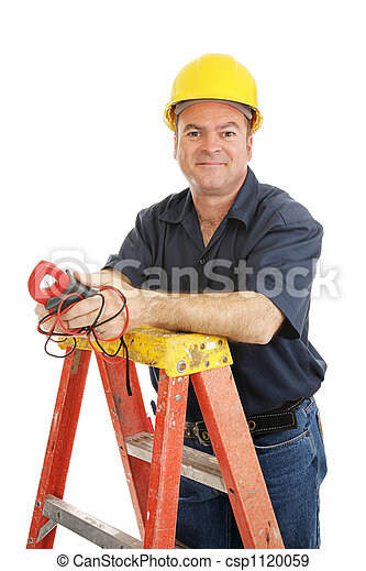 Friendly Electrician Isolated - csp1120059