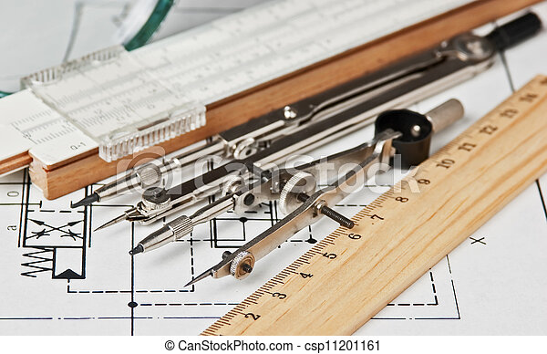 engineering tools on technical drawing - csp11201161