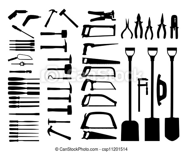 Power Tool Drawings Set of Power Tools Shovel