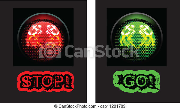 Vector Clipart of Red and green traffic light, isolated on black ...