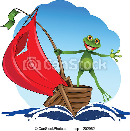 boat - funny frog on a red sail boat csp11202952 - Search Clip Art ...