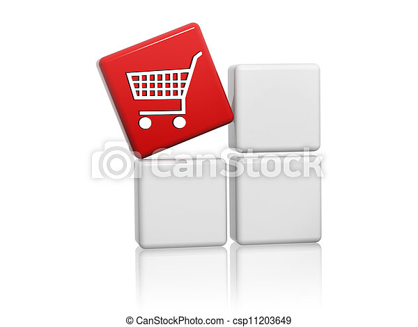 red cube with shopping cart sign on boxes - csp11203649