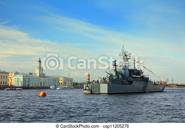 military ship on Neva River - day of the Navy in St. Petersburg - csp11205276