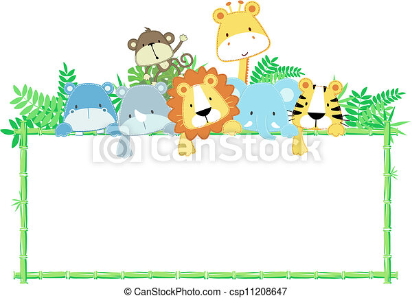 cute baby jungle animals frame - csp11208647