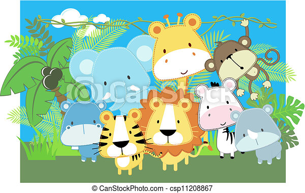 Clip Art de vectores de bebé, vector, animales, Safari - vector ...