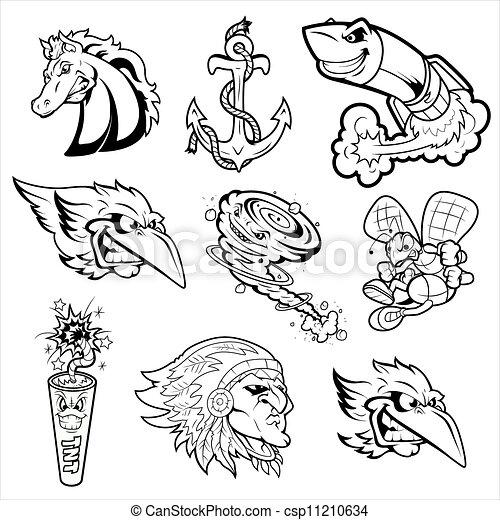 Vettori di tatuaggi vario caratteri mascotte estratto for Disegni piccoli per tatuaggi