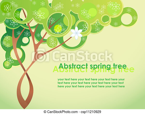 Abstract spring tree with flowers - csp11210929
