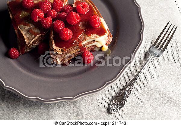 Chocholate raspberry pancake