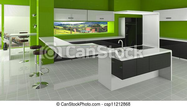 illustration de moderne cuisine vert noir blanc couleurs csp11212868 recherchez des clip. Black Bedroom Furniture Sets. Home Design Ideas