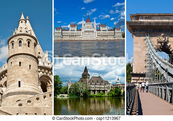 Set of historical  places in Budapest city, Hungary - csp11213967