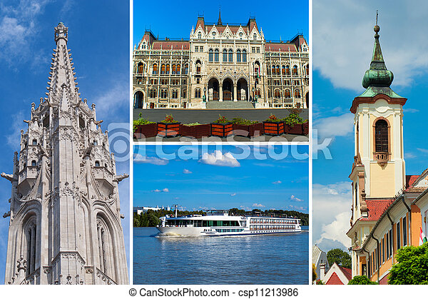 Set of historical  places in Budapest city, Hungary - csp11213986