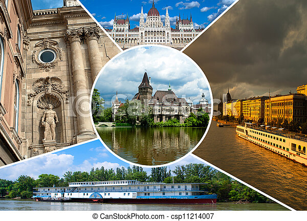 Set of historical  places in Budapest city, Hungary - csp11214007