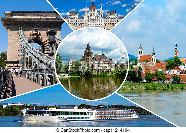 Set of historical  places in Budapest city, Hungary - csp11214104