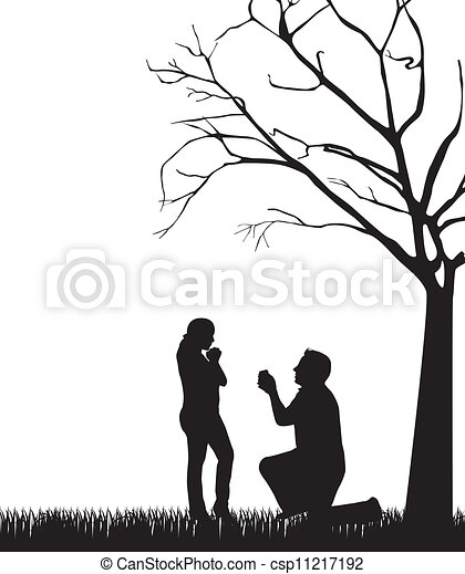 EPS Vectors Of Couple Silhouette Under Tree Over White Background. Vector Csp11217192 - Search ...