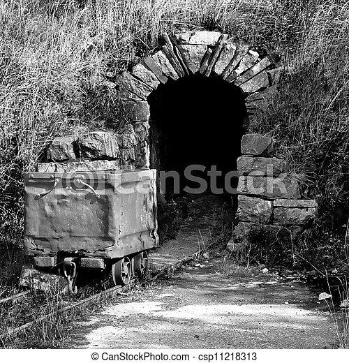 Abandoned historic mine entrance - csp11218313
