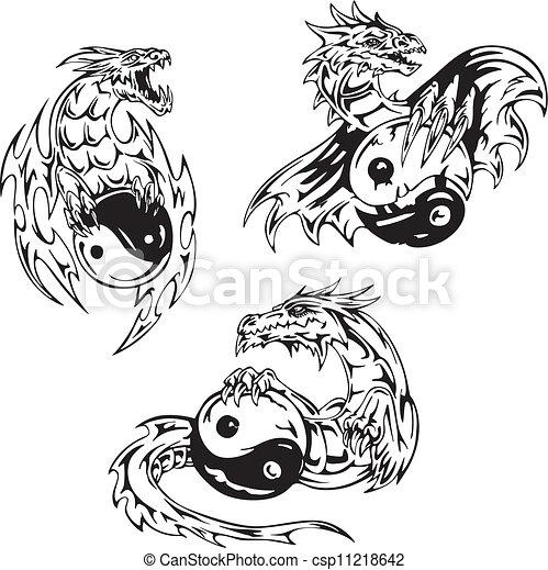 Vettore Eps Di Tatuaggi Yin Yang Drago Segni Drago