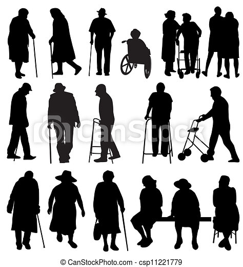 elderly silhouettes - csp11221779