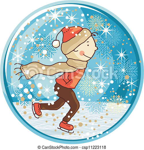 Vector Clip Art of Ice Skating Snow Globe - Winter snow globe with ice ...